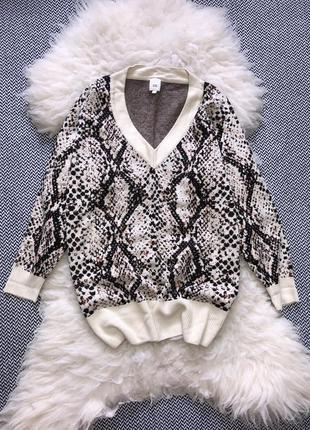 Кофта свитер джемпер оверсайз v-вырез распорки змеиный принт питон анимал