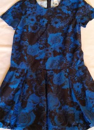 Платье 46р принт синий
