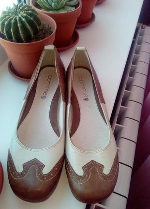Туфли,балетки,оксфорды на низком каблучке 39 размер,comma,кожа!