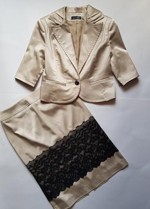 Стильный женский костюм двойка,нарядный юбка и пиджак,юбка с высокой посадкой,пиджак