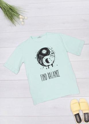 Стильная бирюзовая футболка с рисунком надписью оверсайз большой размер батал