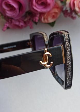 Новые крутые солнцезащитные очки с блеском по бокам, черные