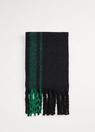 Новый толстый теплый шарф с бахромой с примесью шерсти от zara man