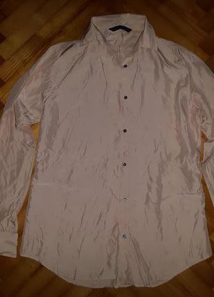 Шикарная пудрово-бежевая шелковая блуза от zara! p.-xs