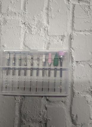 Фреза набор фрез для ногтей маникюра 10 шт набір фрез для нігтів фрезы фрези