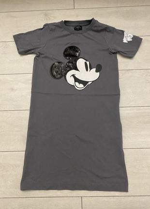 Платье женское спортивное летнее футболка удлиненная mickey mouse