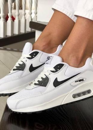 Nike air max 90🆕шикарные женские кроссовки🆕черно-белые кожаные найк аир макс на весну