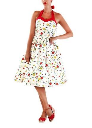 Платье миди коттоновое пышная юбка карманчики  р 14 lindy bop
