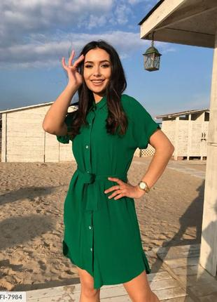 Зеленое платье рубашка штапель
