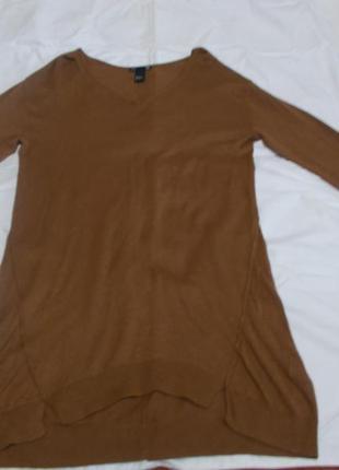72dabd3e1dd Теплое коричневое платье basic h m спереди короткое