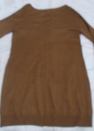 Теплое коричневое платье basic h&m  спереди короткое, сзади длинное