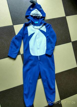 Флисовый слип,пижама-комбинезон, домашний костюм, кигуруми,  ромпер  на 7-8 лет primark