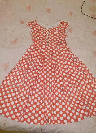 Платье красное в белый горох стиляги винтаж коттон хлопок 44 46 размер s m