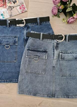 Юбка джинсовая с поясом💎