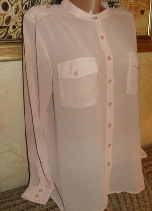 Нежная пудровая шифоновая блузка рубашка bik bok