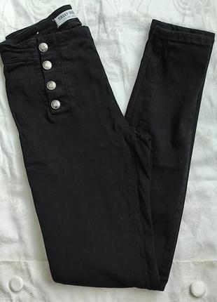 Черные джинсы скинни мом на высокой посадке с высокой талией штаны