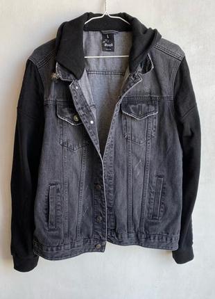 Мужская джинсовка с текстильными рукавами