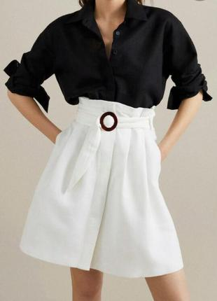 Крутая льняная юбка с высокой талией massimo dutti.