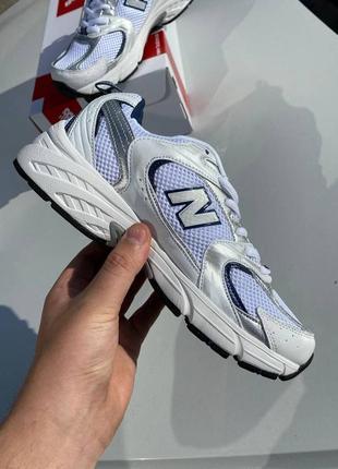 Кроссовки new balance 530, белые с серебром, 0035