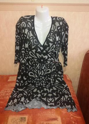 Тоненькое платье-туника большого размера