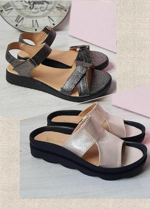 Кожаные шлепки на широкую ногу/босоножки/сандалии шлепанци босоніжки пудровые черные