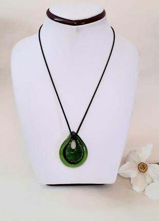 Зелёный кулон, подвеска murano glass