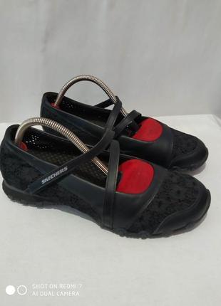 Кожаные комбинированные туфли skechers