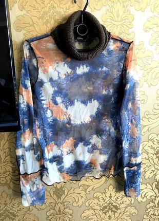 Интересная стильная блузка просвечивающая с шерстяной вязаной шеей (блуза) от mexx