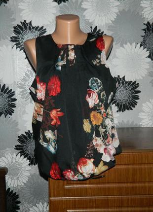 Блуза черная с цветами vero moda l xl 42 14 48