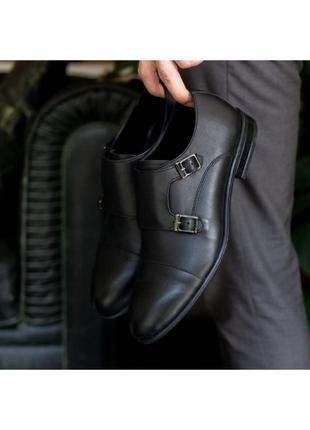 Мужские туфли из натуральной кожи с пряжками