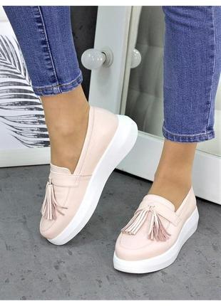 Туфлі лофери натуральна шкіра та замша в 4 кольорах