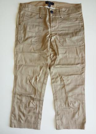 Укороченные бежевые брюки mango