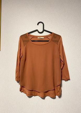 Блуза рукав 3/4 шифоновая вставка / большая распродажа!