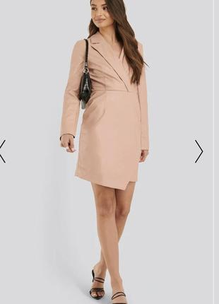 Летняя распродажа 🔥🔥🔥    кожаное мини платье пиджак с вырезом и длинными рукавами