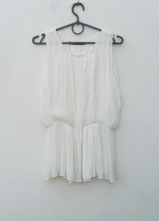 Белая нарядная шифонавая блузка zara basic