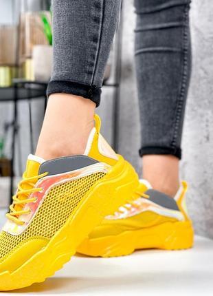 Жёлтые кроссовки сетка летние7 фото