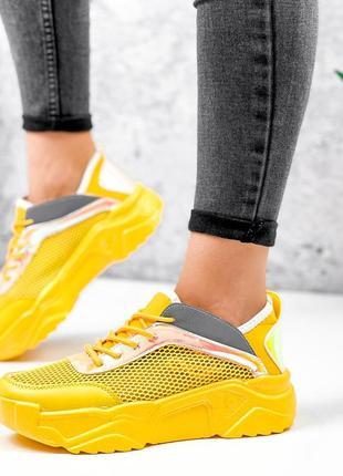 Жёлтые кроссовки сетка летние4 фото