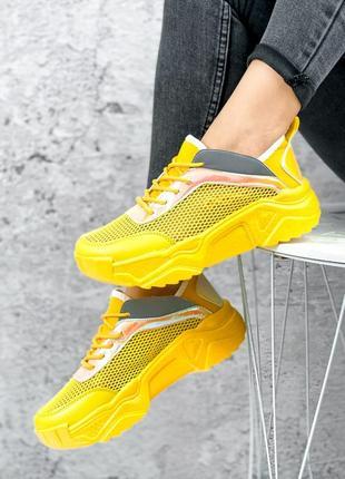 Жёлтые кроссовки сетка летние