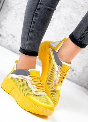Жёлтые кроссовки сетка летние5 фото