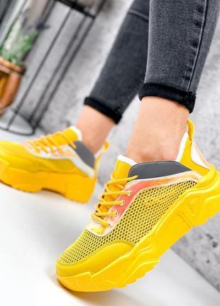 Жёлтые кроссовки сетка летние6 фото