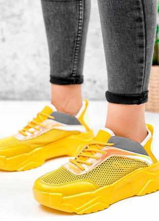 Жёлтые кроссовки сетка летние3 фото