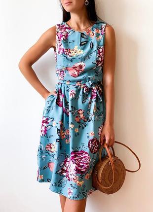 Женское платье-колокольчик в яркий цветочный принт под пояс, юбка с карманами! цвет бирюза