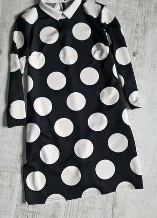 Mohito- платье 2016 г.с карманами в горошек черное с воротником-36р