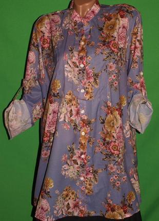 Красивая блуза (ххл замеры) с цветочным узором, нежная замечательно смотрится.
