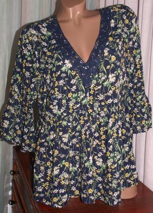 Красивая блуза м-л замеры) 100% вискоза ,с узором, превосходно смотрится. пр-во турция