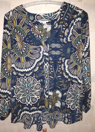 Блуза плотный матовый шифон удлиненная спинкаh&m