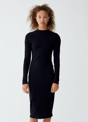 Новое черное платье миди