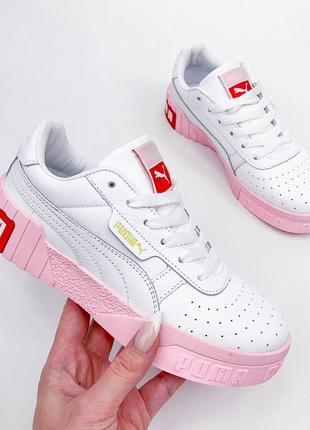 23 см кроссовки кожаные белые с розовым