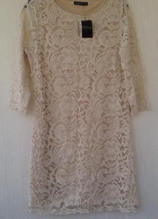 Новое нюдовое кружевное платье для пышной леди