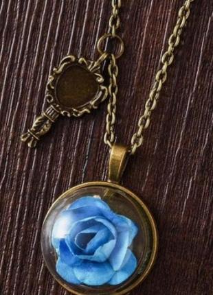 Подвеска, кулончик с синим цветочком в винтажном стиле